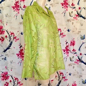 Chico's Green Sheer Button Up Top Size 3 (XL)